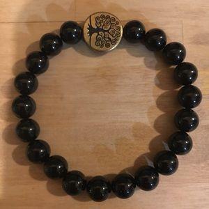 Black Tourmaline, Tree Of Life Stretch Bracelet